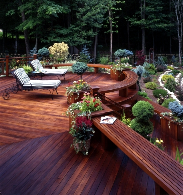 Garden Decking Ideas For Small And Large Plots: Wooden Planters In Place