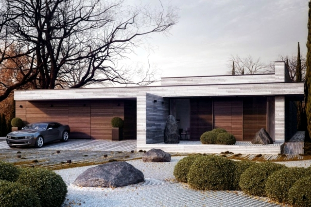 In Fact, Wood And Stone, Two Very Different Materials   But Somehow The  Combination Of The Two Works Perfectly. The Facade Is Clad In Stone, ...