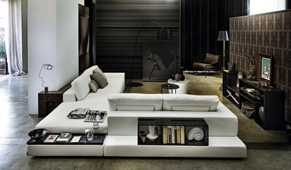 Sofa with shelves