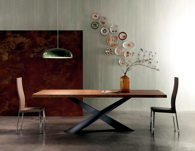 Contemporary Wooden Table Table Base Raw Steel Interior Design