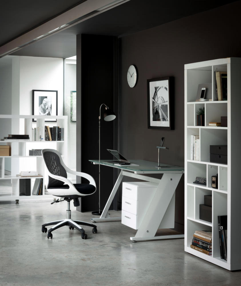 Home Office In Black And White Interior Design Ideas