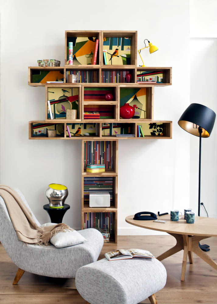 Reading Room Design Ideas: A Reading Corner With A Creative Design Wooden Shelf