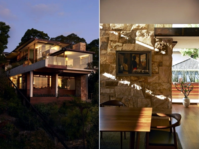 Dream house with a facade of natural stone in Sydney, Australia