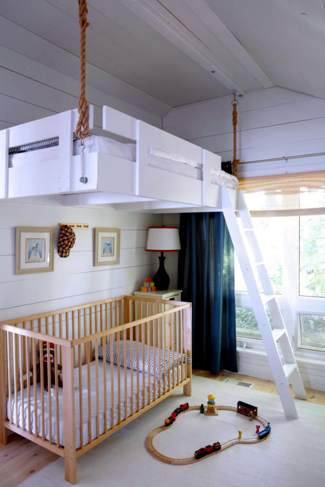 How to hang a loft bed from ceiling for Floating loft bed designs