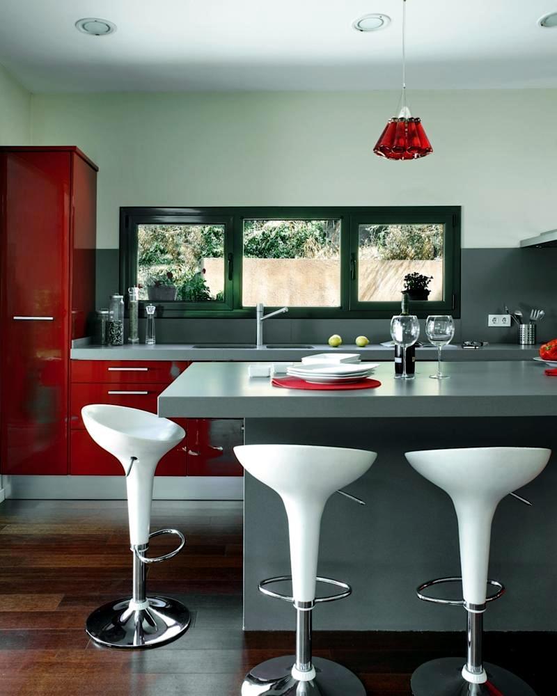 Kitchen in gray and red  Interior Design Ideas  Ofdesign