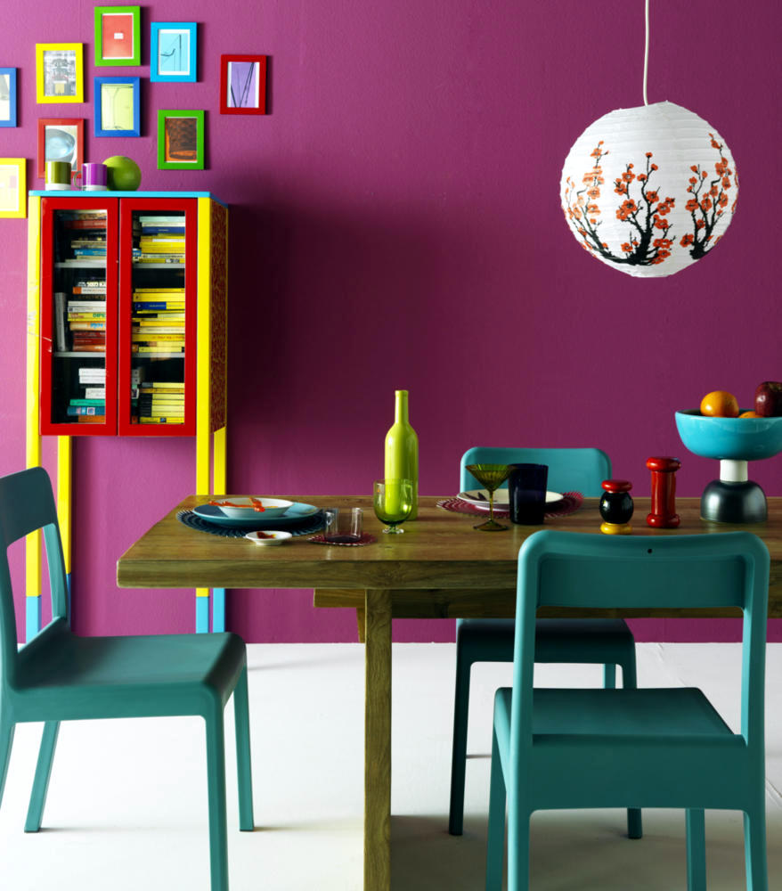 Colourful dining room with bright colors interior design for Colorful living room furniture