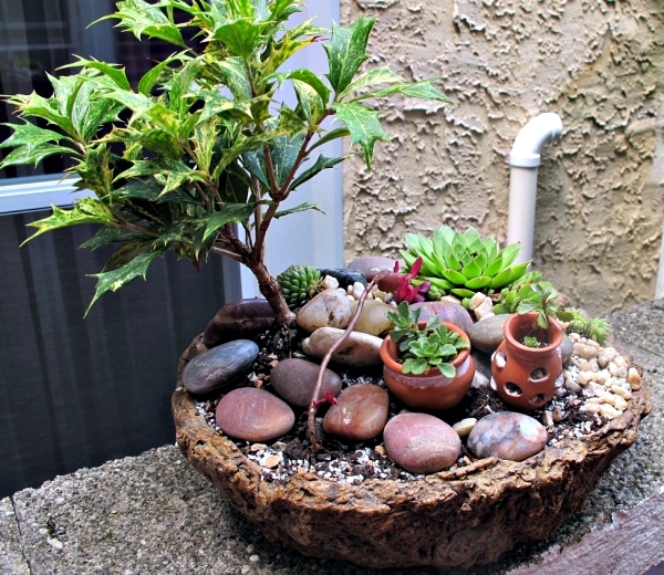 Create miniature gardens in pots on the balcony