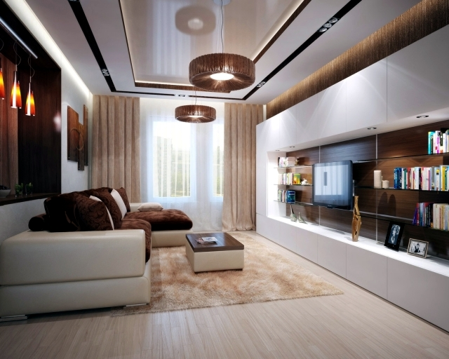 Modern Brown Living Room - Interior Design 3d •