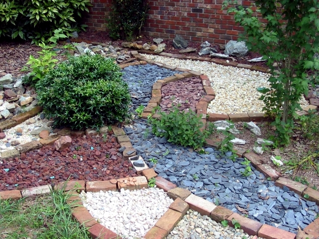 Image result for garden with coloured stones and brick