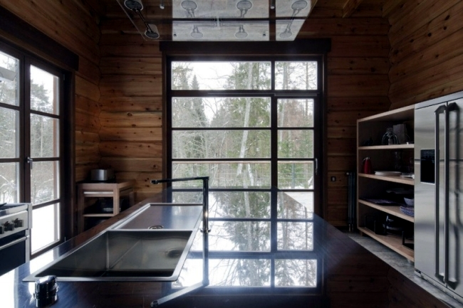 Minimalism in a modern wooden house in Russia near Moscow
