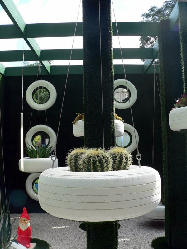 100 diy furniture from car tires tire recycling do it yourself hanging container cactus 100 diy furniture from car tires tire recycling solutioingenieria Images