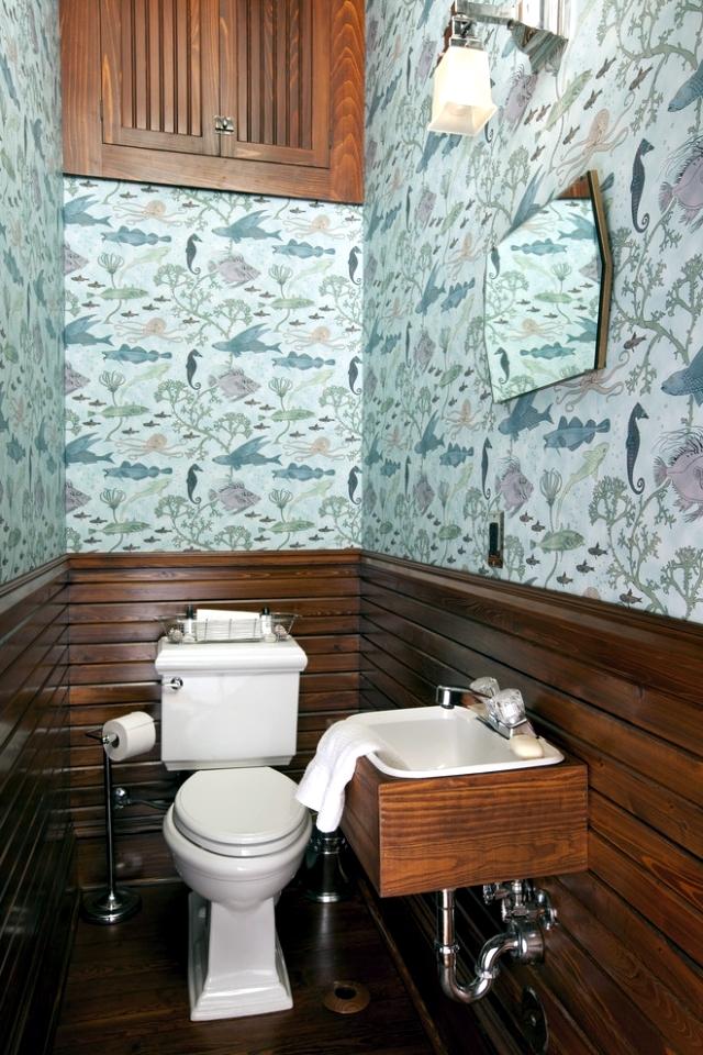 Дизайн обои в туалете