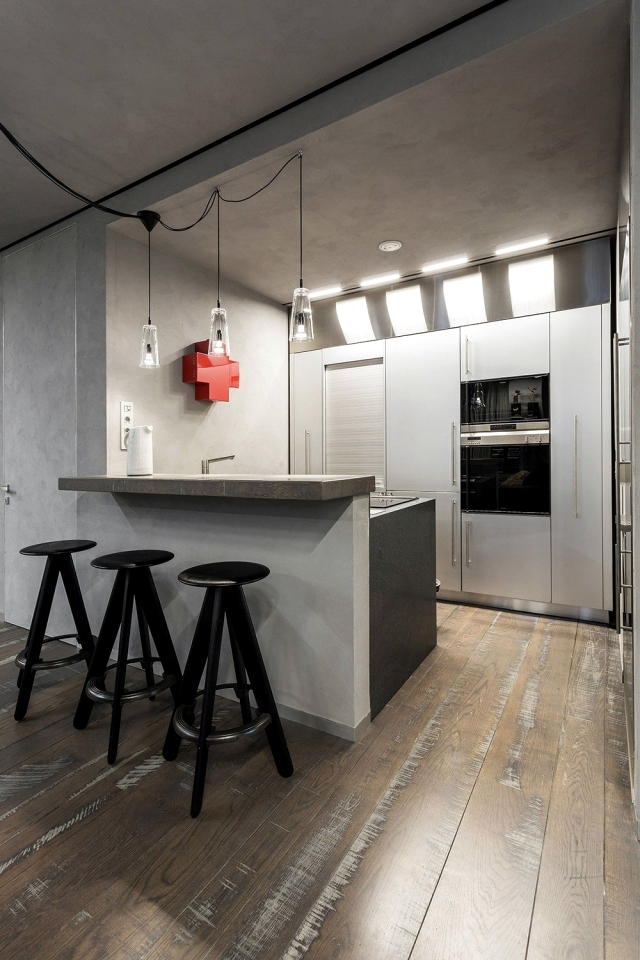 Installing modern studio with an industrial touch