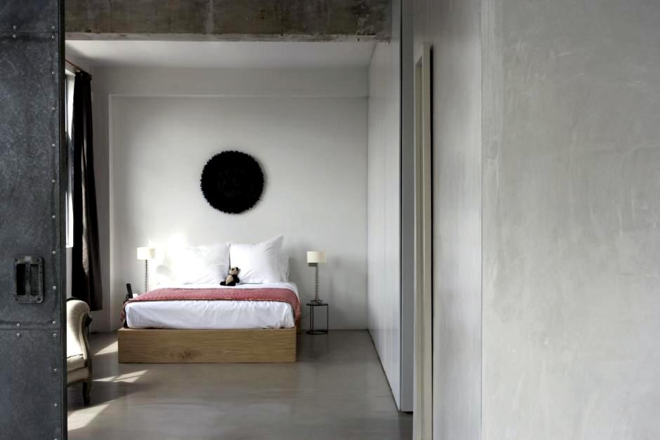 Screed And Concrete Wall In The Bedroom Interior Design Ideas Ofdesign