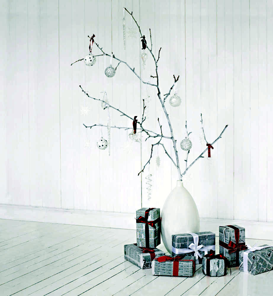 DIY Christmas presents and white twig Interior Design
