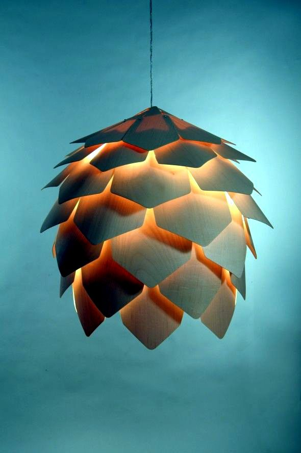 Wood Design Chandelier suspended exciting resembles a pine cone