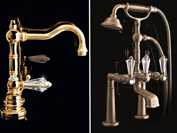 Swarovski crystals adorn modern bathroom taps