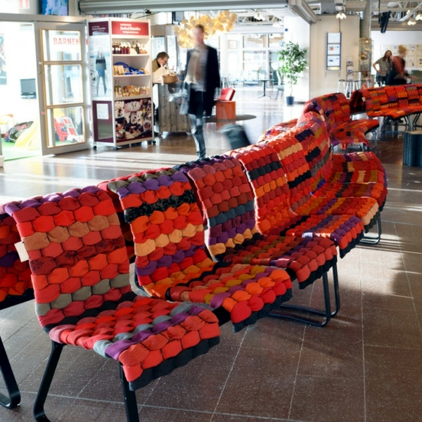 Innovative design chair upholstered with fabric scraps