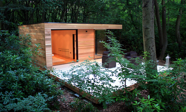 Prefabricated wood and glass house in the forest Interior Design