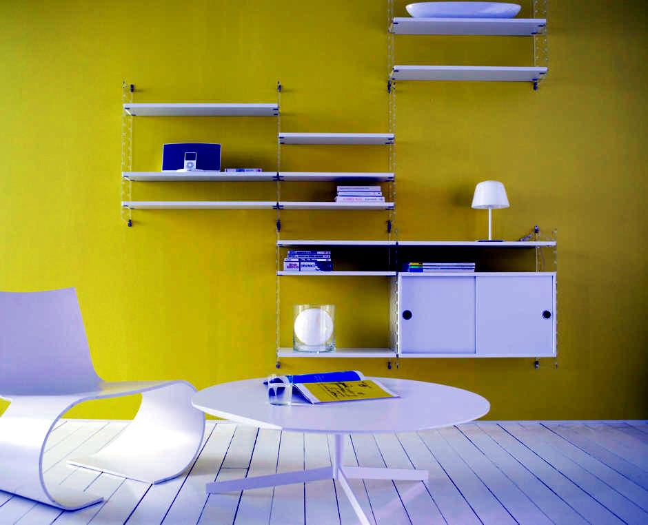 white shelving system neon yellow wall interior design ideas