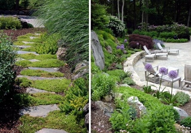 Decorate design ideas for the entrance with flowers and shrubs