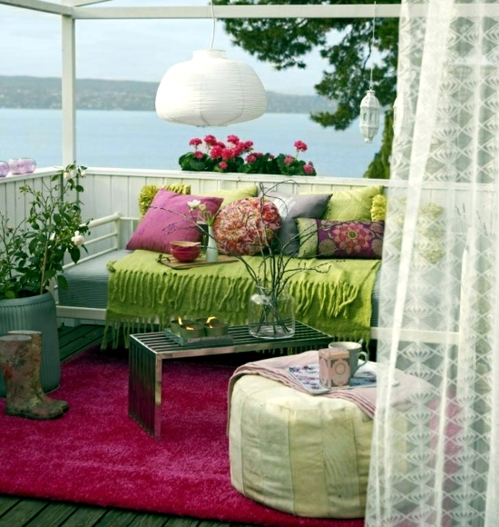 Balcony in summer colorful decoration ideas for outdoor for Terrace interior design ideas