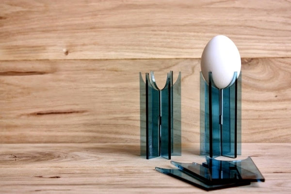 Egg elegant designer as decoration on table