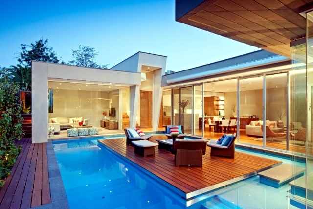 Modern Houses With Pool Modern House In Canterbury A Wooden Deck By The Pool Interior