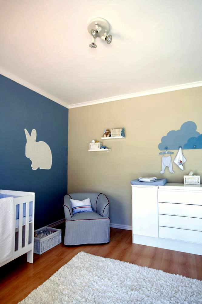 blue and beige wall with a rabbit model in modern baby room interior design ideas ofdesign. Black Bedroom Furniture Sets. Home Design Ideas