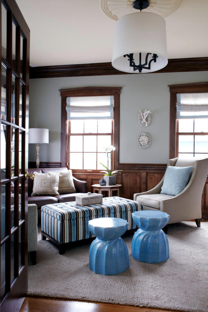 Upholstered Stool And A Coffee Table Classic Blue Room Interior