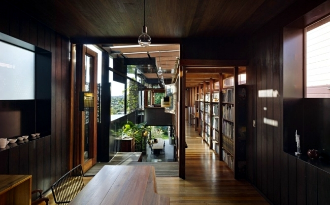 A modern residential building makes effective use of a narrow plot