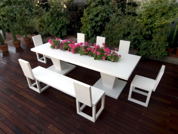 The Furniture In White Aluminum Bysteel Sets Living Room With Garden Concep