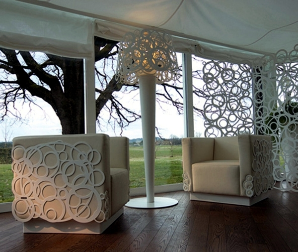 The furniture in white aluminum Bysteel - Sets Living room with garden concept