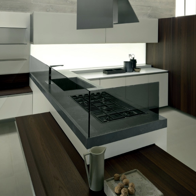 Modern fitted kitchen has minimalist aesthetic