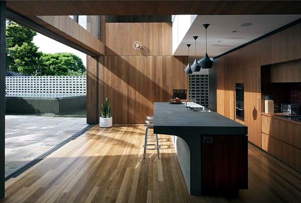 Contemporary wall cladding wood creates a warm interior