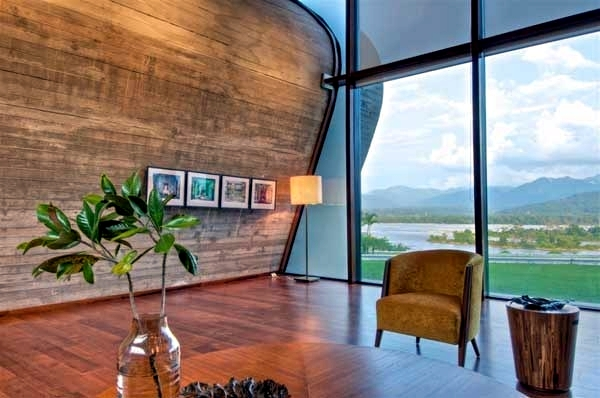 Contemporary wall cladding wood creates a warm