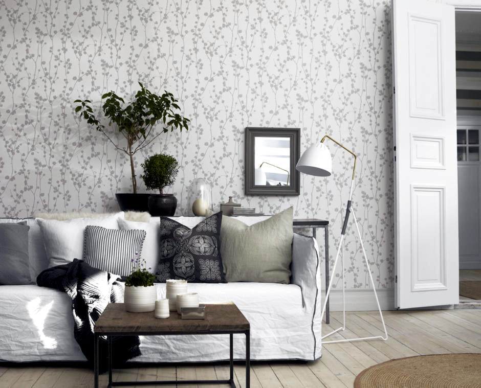 wallpaper white with leaf pattern interior design ideas. Black Bedroom Furniture Sets. Home Design Ideas