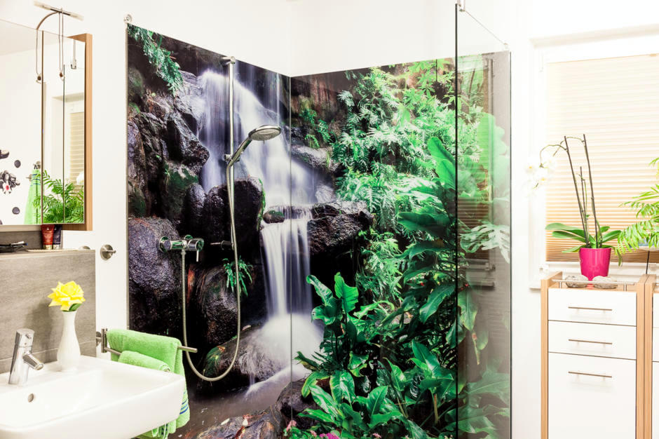 Shower Back Wall With Digital Printing Interior Design