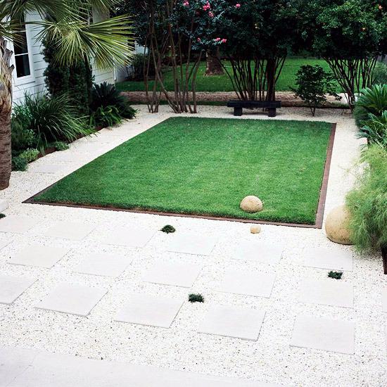 Create and maintain the grass ideas for garden design for Rectangle garden ideas