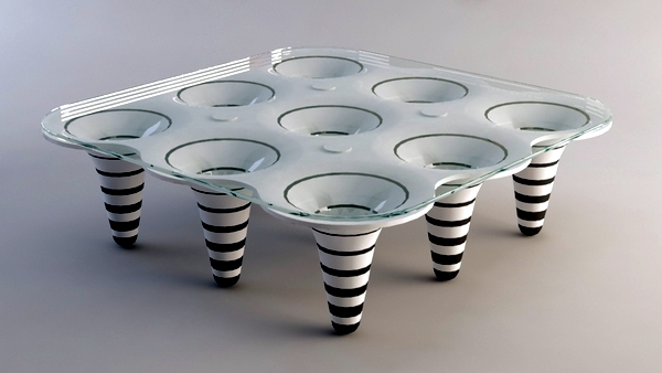 Contemporary coffee tables with creative design - wooden molds and glass plates