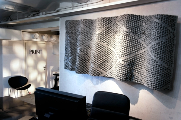 Futuristic office furniture with metal wall panels 3D