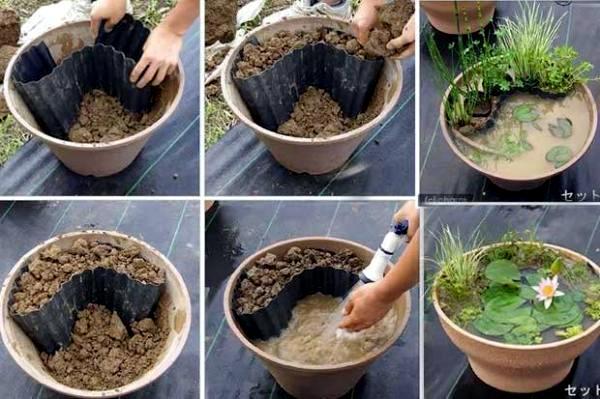 Create a mini garden pond in the mortar bed and replant diy idea