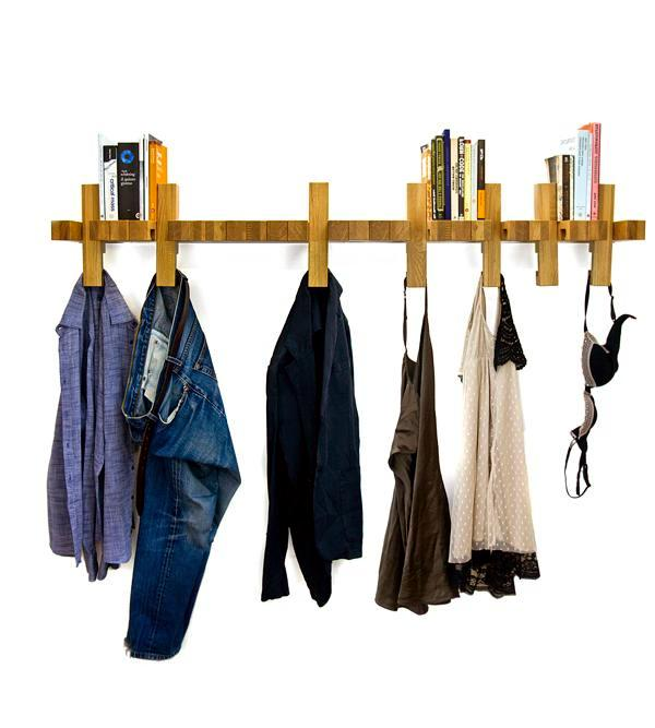 In rack wooden wall with moving parts are used multiunktional