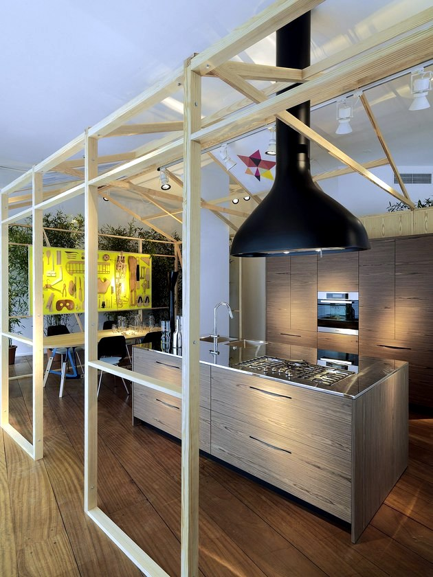 Modern wood kitchen SCHIFFINI - Bag slots instead kitchen cabinets