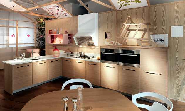 Modern wood kitchen SCHIFFINI - Bag slots instead kitchen cabinets