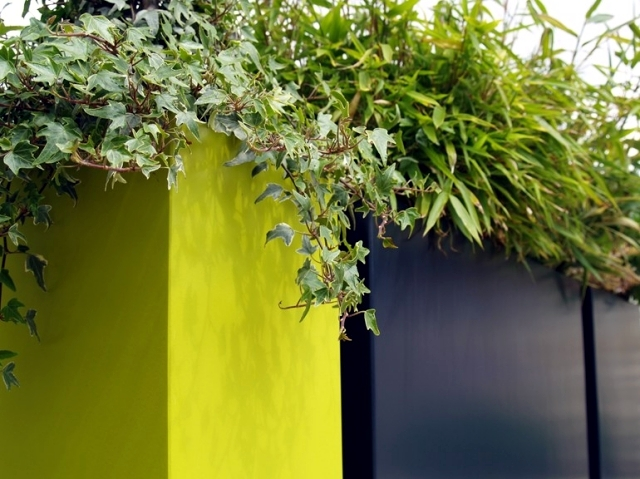 Fiber Cement Planters design - green shutters balconies