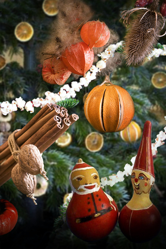 christmas tree decorations made from natural materials 20 ideas to make your own - Orange Christmas Tree Decorations