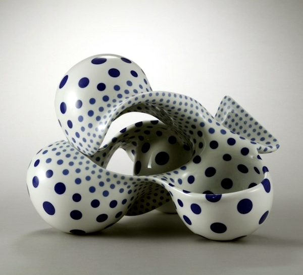 Modern Japanese Art Ceramic Sculpture With Organic