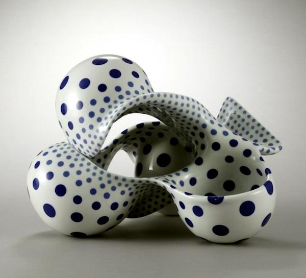Modern Japanese art - ceramic sculpture with organic shapes