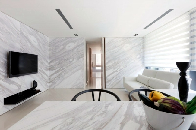 Marble shapes the creation of a small apartment in Taiwan Interior